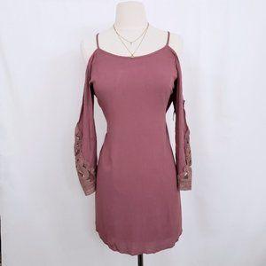 Boho Off Shoulder Crochet Long Sleeve Dress NWT